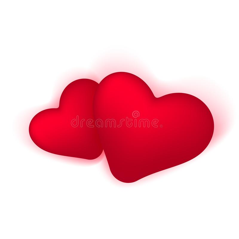Two Hearts realistic icon and symbols in red color in white background. Vector illustration. royalty free illustration