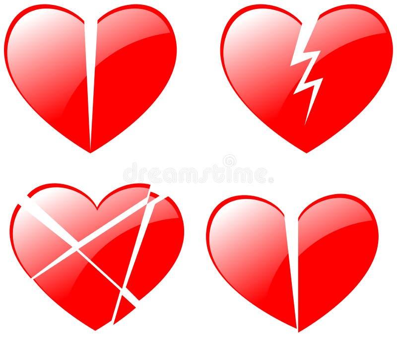 Broken hearts stock illustration