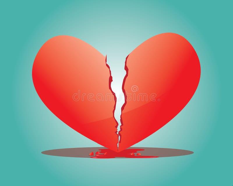 broken hjärtaillustration royaltyfri illustrationer