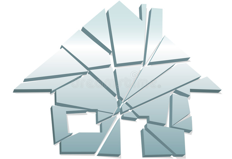 Broken Home concept house symbol shattered pieces stock illustration