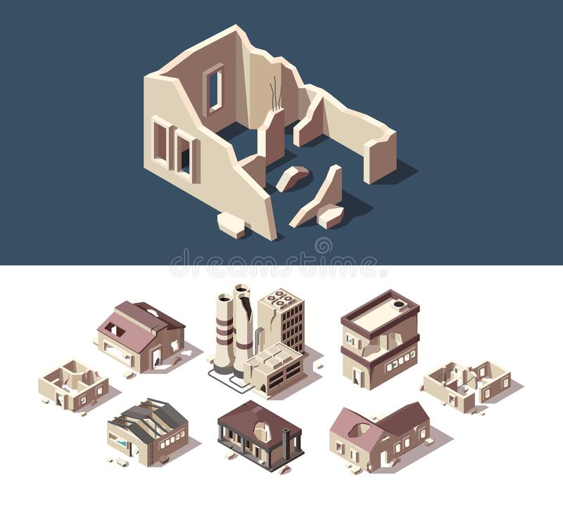 Abandoned Houses Well-crafted Pixel Perfect Vector Stock