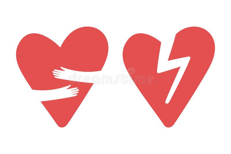 Broken and hugging hearts vector icons. Love yourself, divorce, heart attack icon stock illustration
