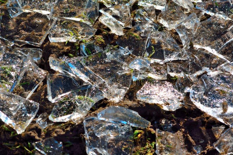 Broken ice pieces background stock photo
