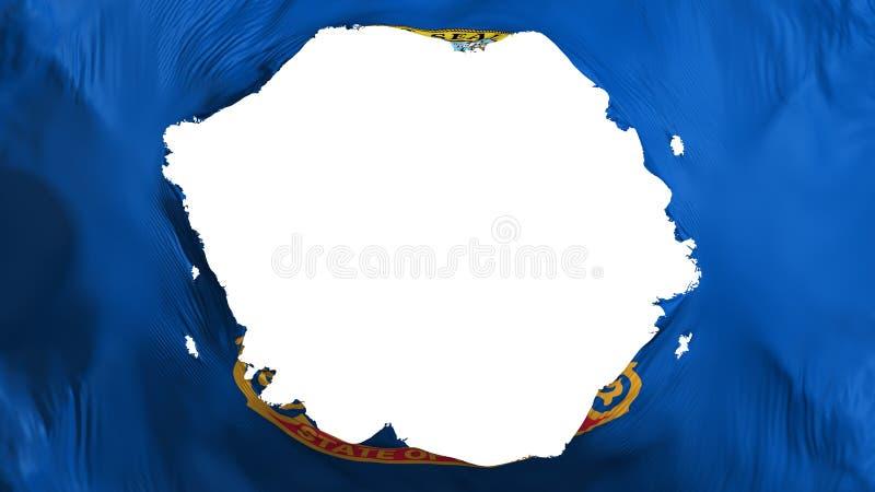 Broken Idaho state flag. White background, 3d rendering vector illustration