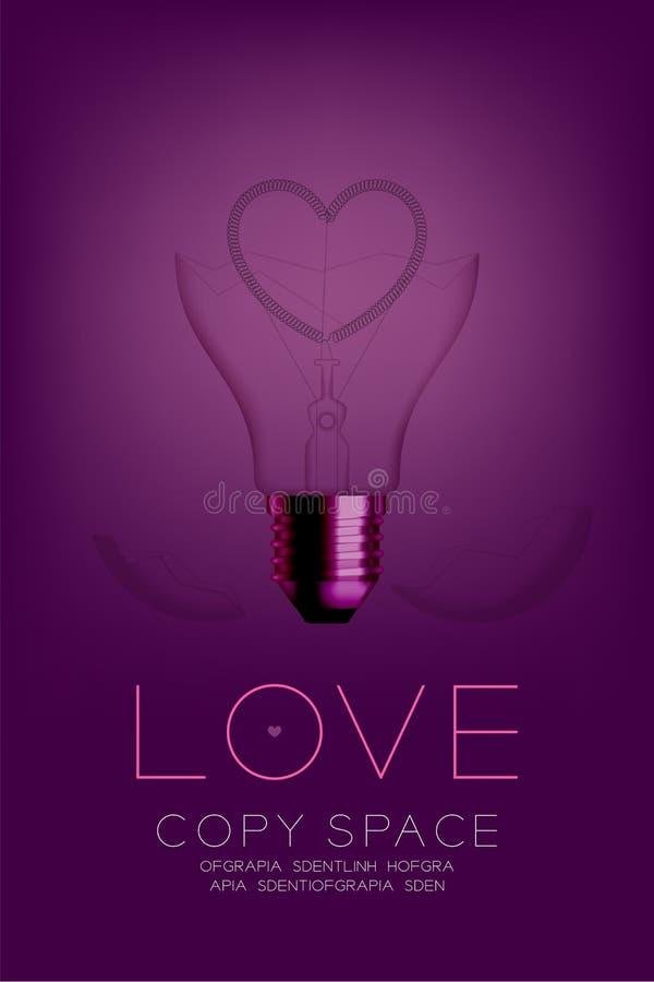 Broken Incandescent light bulb switch off set Love heart valentine concept design illustration. Isolated glow in pink gradient background vector illustration