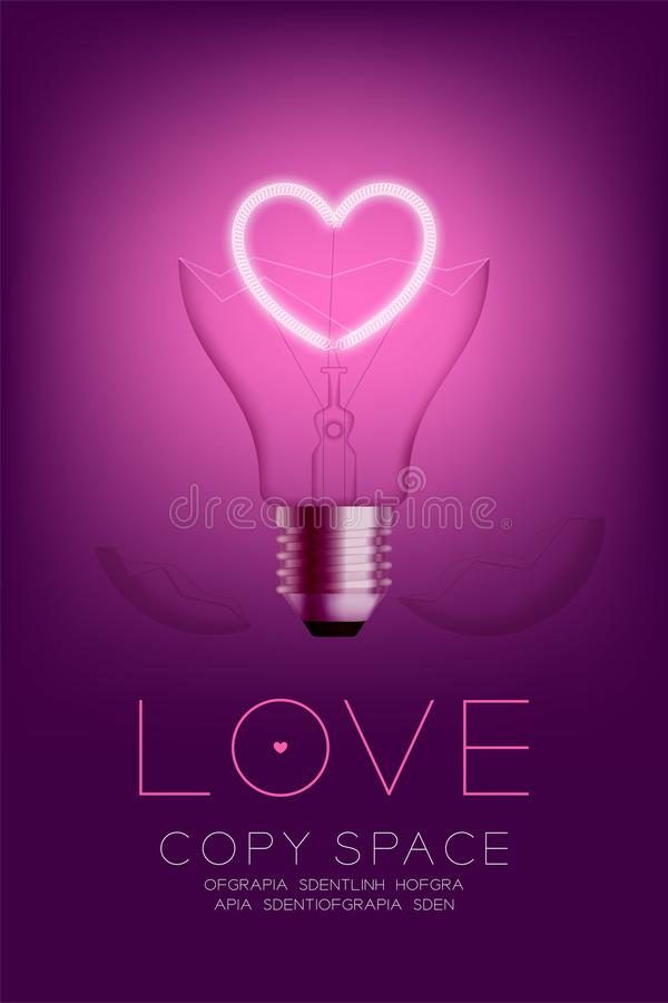 Broken Incandescent light bulb switch on set Love heart valentine concept, illustration. Isolated glow in pink gradient background royalty free illustration