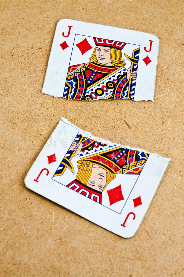 Free Broken Into Two Playing Card Deck Of Old Stock Photo - 21164890