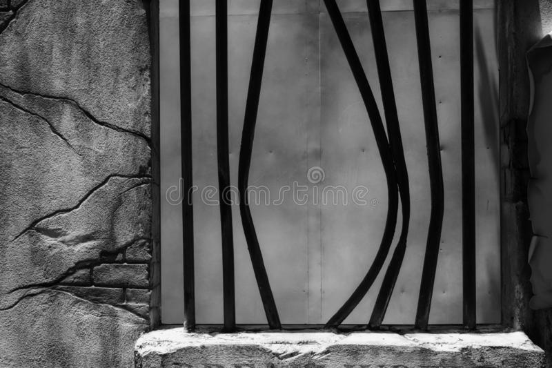 Broken Jail Bars in Prison Window. Black and white color process with copy space for text. Jailbreak or, arrest, away, bend, breakaway, breaker, buzz, cage vector illustration