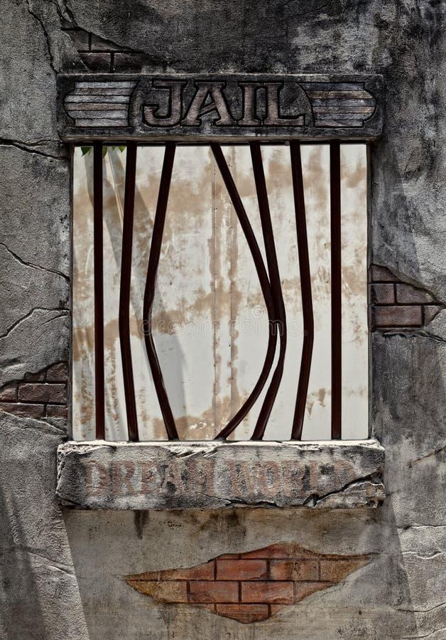 Broken jail window royalty free stock photo