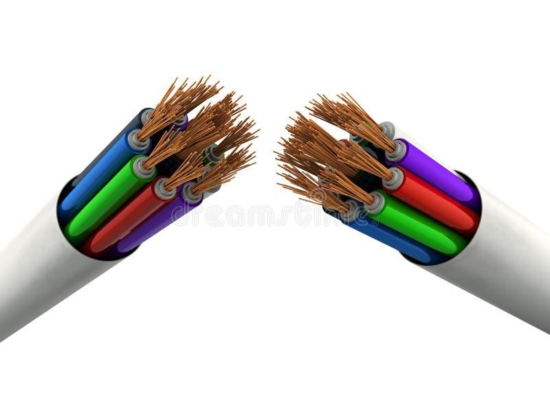 broken kabelelkraft vektor illustrationer