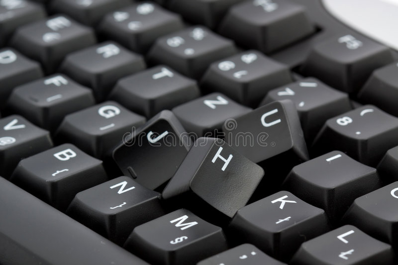 Broken keyboard stock image