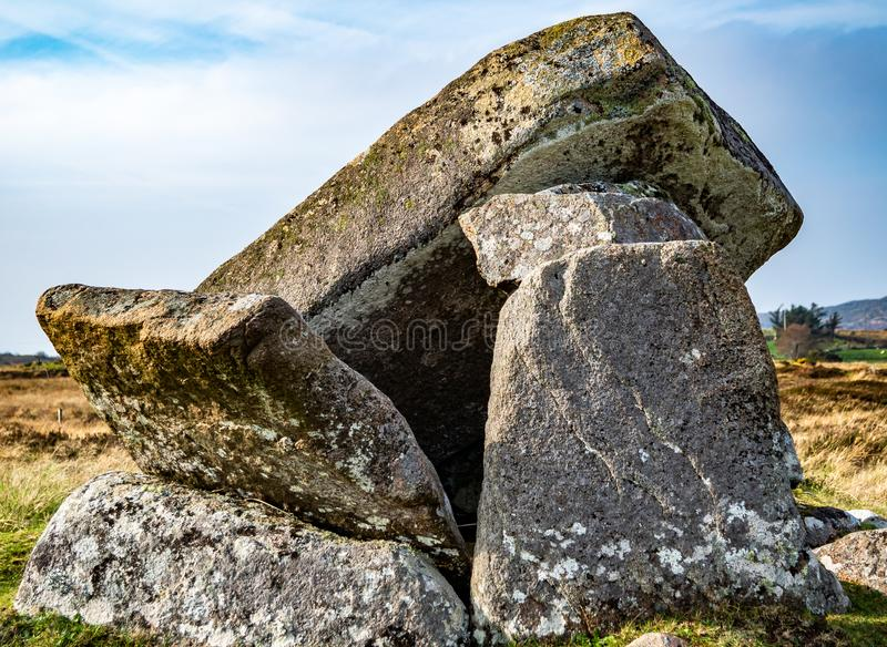 The broken Kilclooney Dolmen is neolithic monument dating back to 4000 to 3000 BC between Ardara and Portnoo in County royalty free stock photos