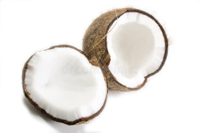 broken kokosnöt royaltyfria bilder