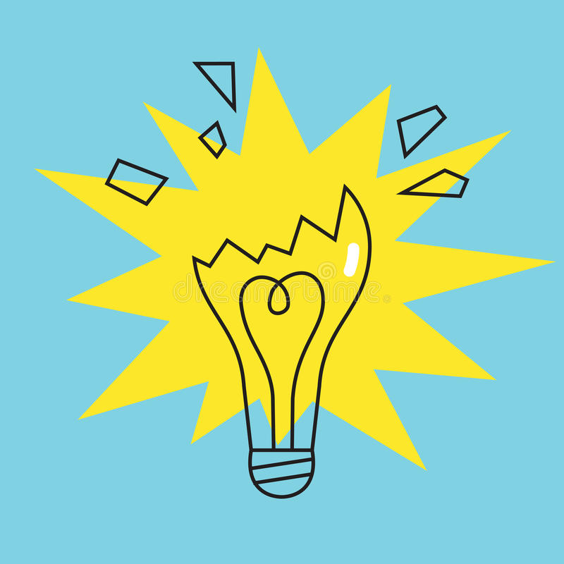 Broken lamp bulb icon. Concept of failure. Vector royalty free illustration