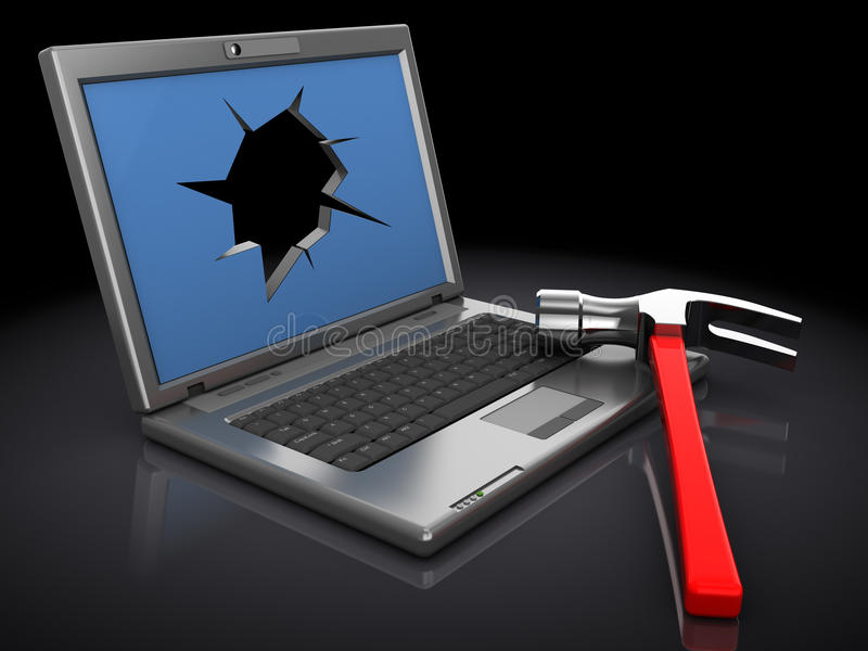 Broken laptop stock illustration