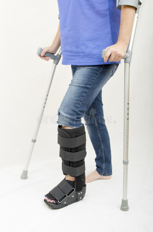 Broken Leg and Crutches and Support royalty free stock photography