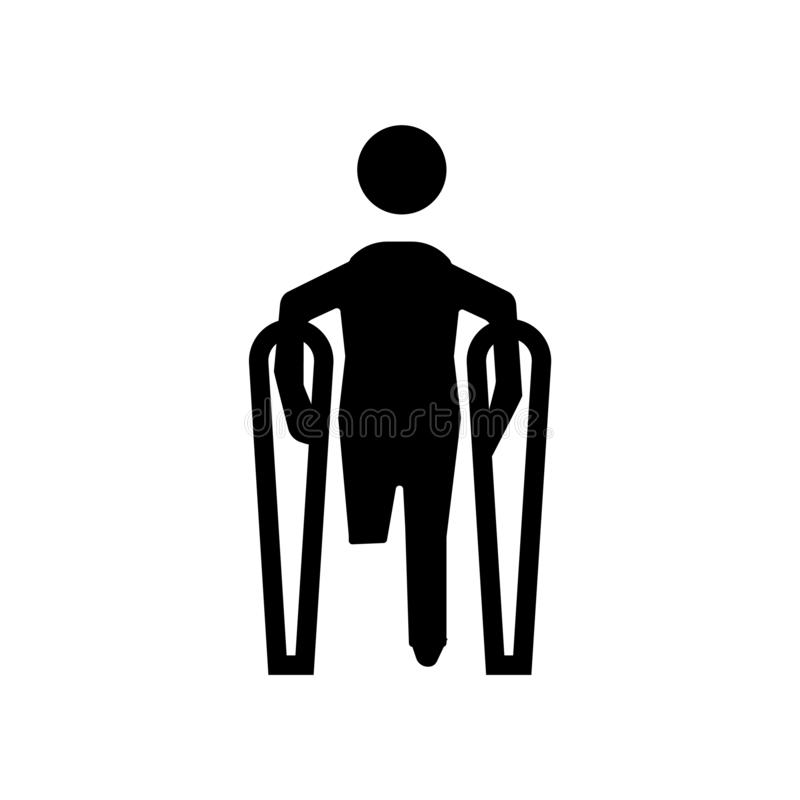 Broken leg icon vector isolated on white background, broken leg sign. Broken leg icon vector isolated on white background, broken leg transparent sign royalty free illustration