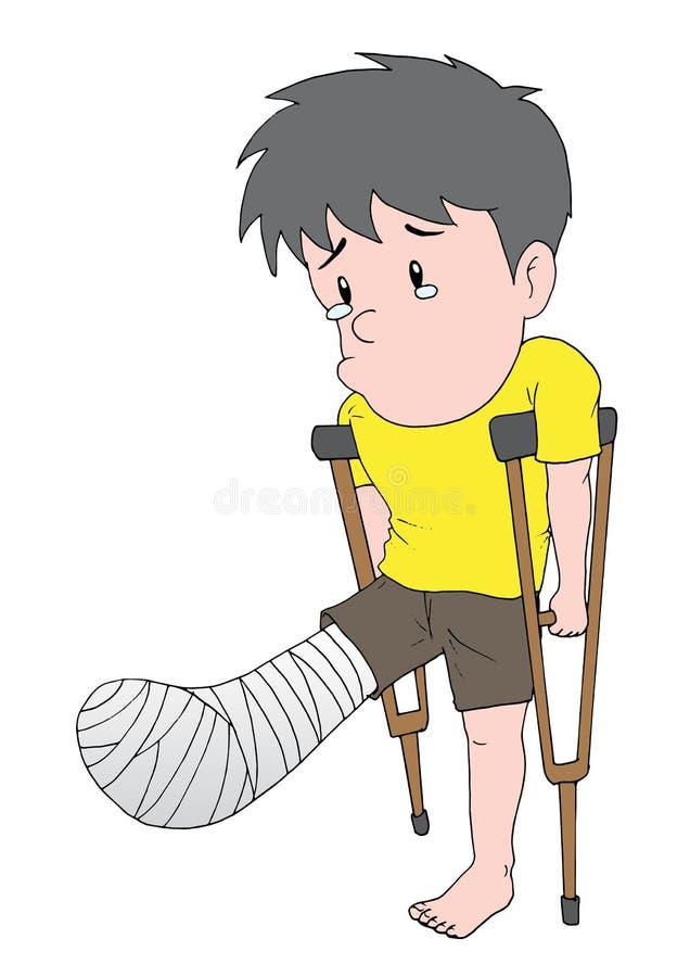 Broken Leg. An illustration of Man with a broken leg vector illustration