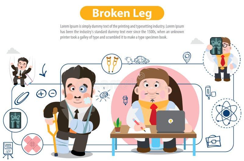 Broken Leg. Infographics. Vector illustration on white background stock illustration