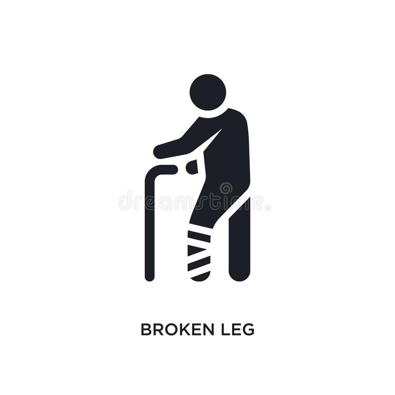 Broken leg isolated icon. simple element illustration from humans concept icons. broken leg editable logo sign symbol design on. White background. can be use royalty free illustration