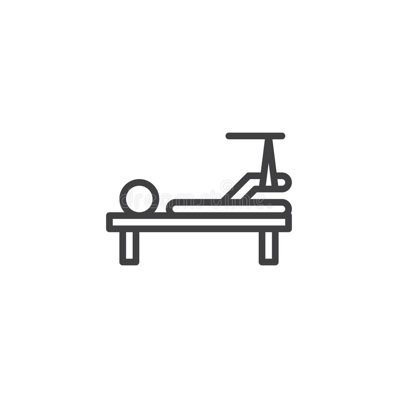 Broken leg line icon. Linear style sign for mobile concept and web design. Injured man with broken leg lying in hospital bed outline vector icon. Symbol, logo royalty free illustration