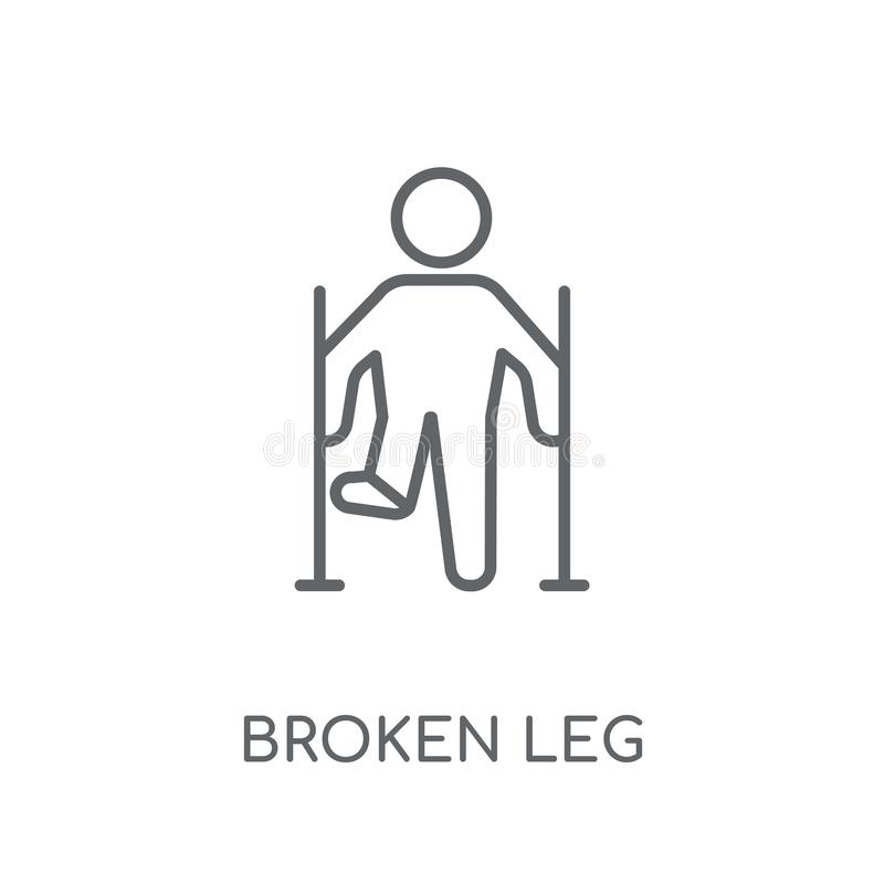 Broken leg linear icon. Modern outline Broken leg logo concept o. N white background from Health and Medical collection. Suitable for use on web apps, mobile stock illustration