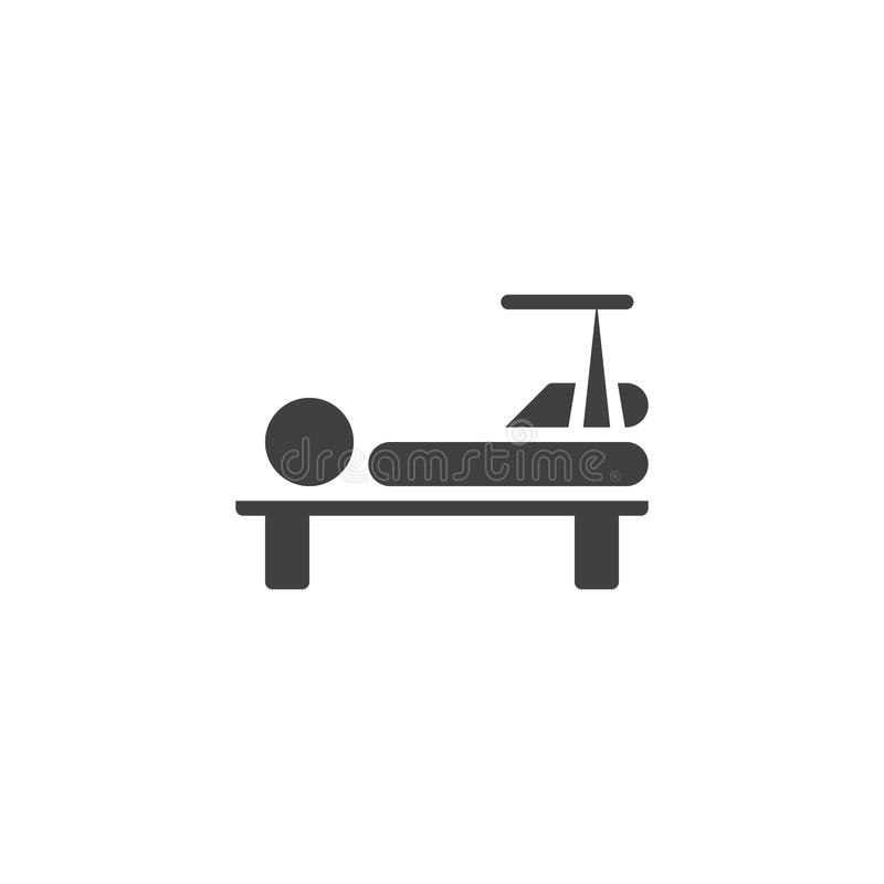 Broken leg vector icon. Filled flat sign for mobile concept and web design. glyph icon. Injured man with broken leg lying in hospital bed symbol, logo royalty free illustration