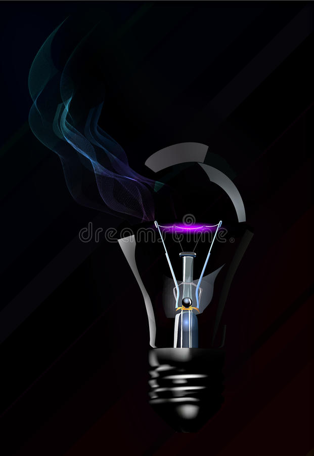 Broken light bulb. With smoke on black background royalty free illustration