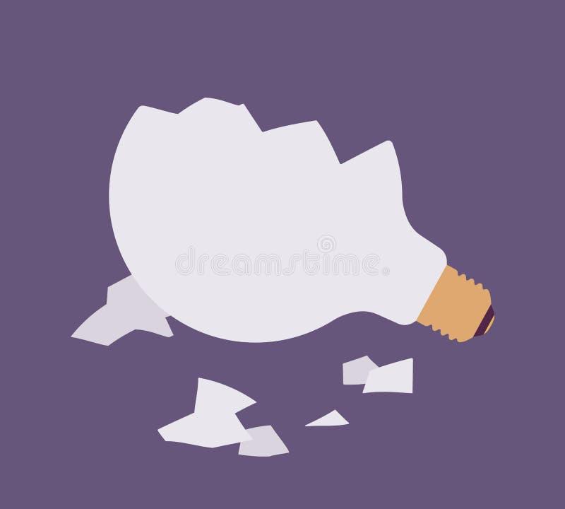 Broken light bulb against purple background. Glass fragments are around. Vector flat-style illustration royalty free illustration