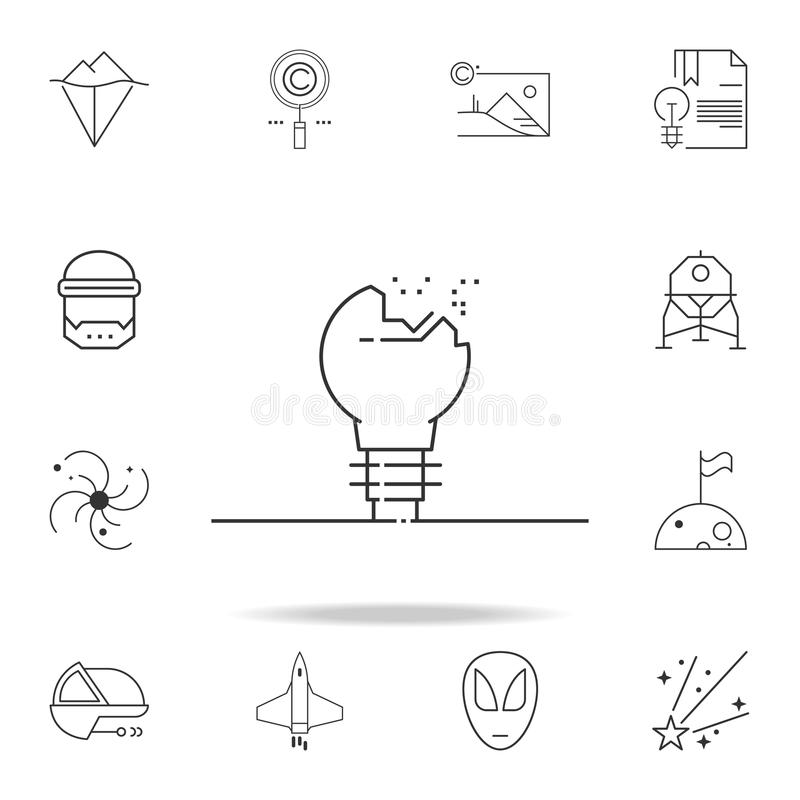 Broken light bulb icon. Detailed set of web icons and signs. Premium graphic design. One of the collection icons for websites, web. Design, mobile app on white stock illustration