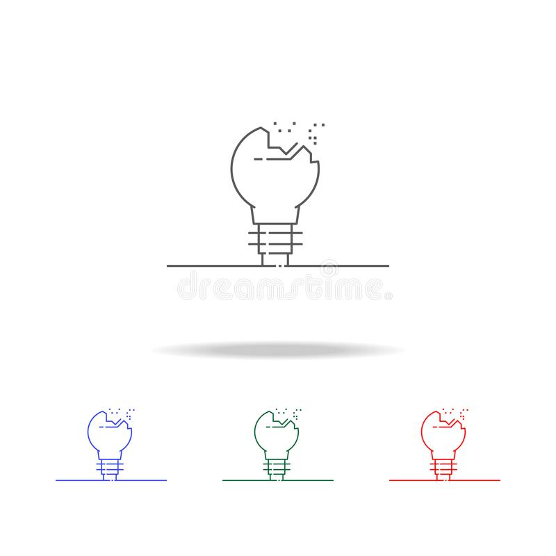 Broken light bulb icon. Elements in multi colored icons for mobile concept and web apps. Icons for website design and development,. App development on white vector illustration
