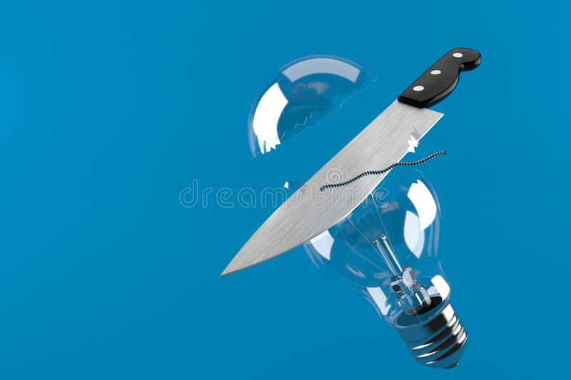 Broken Light bulb with knife. Isolated on blue background. 3d illustration royalty free illustration