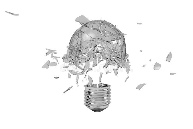 Broken light bulb moment. A broken light bulb moment, 3D rendering vector illustration