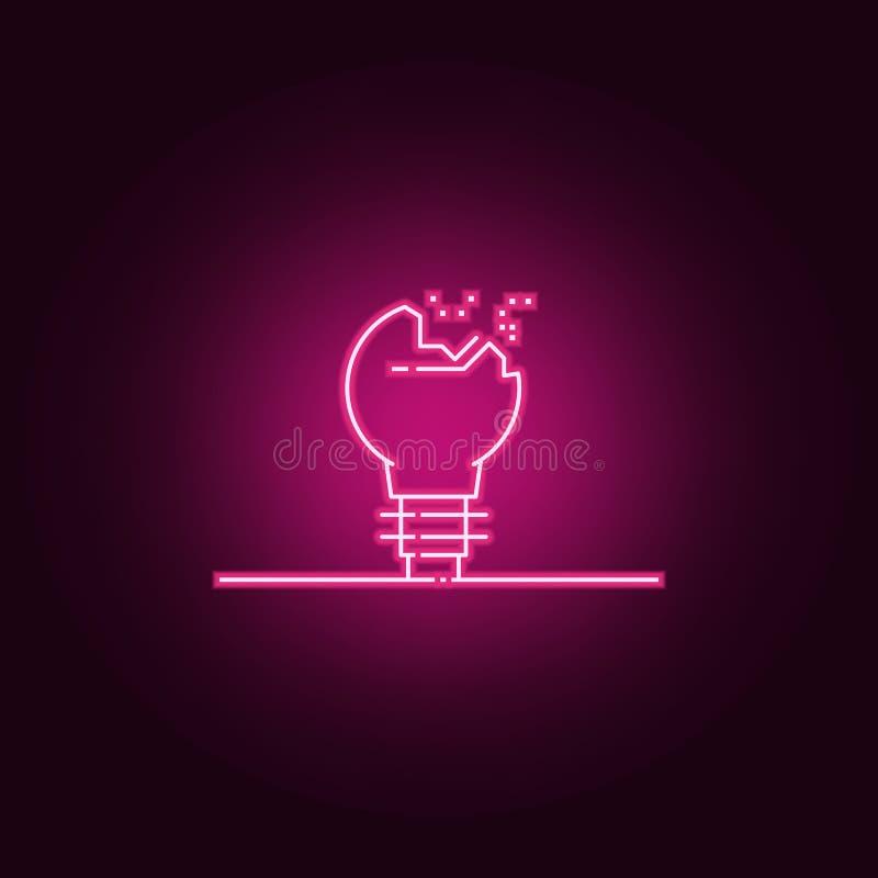 Broken light bulb neon icon. Elements of web set. Simple icon for websites, web design, mobile app, info graphics. On dark gradient background vector illustration