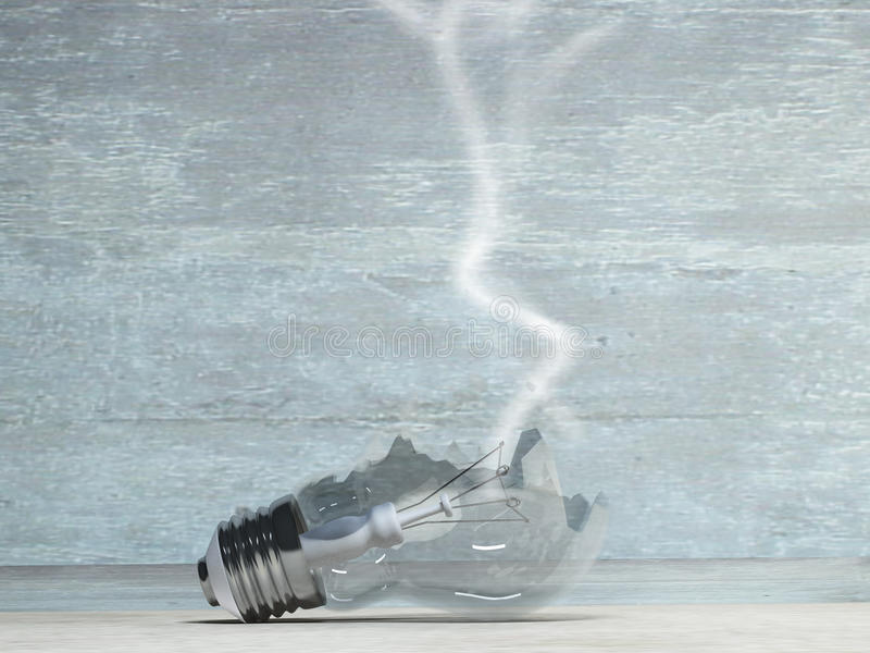 Broken light bulb. Smoking Broken light bulb on grungy surface stock illustration