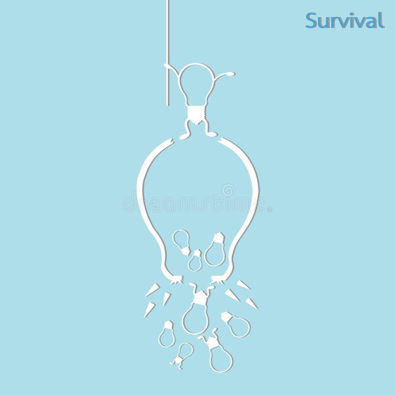 Broken light bulb. Survival concept, isolated vector stock illustration