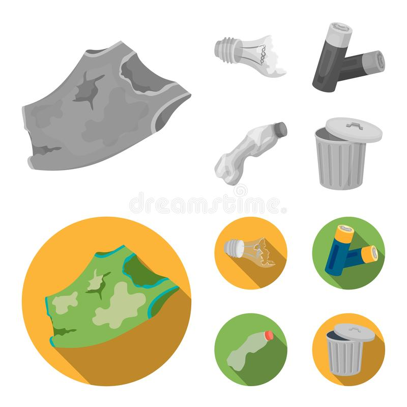 Broken light bulb, used batteries, breaking a plastic bottle, garbage can with a sign.Garbage and trash set collection. Icons in monochrome,flat style vector vector illustration