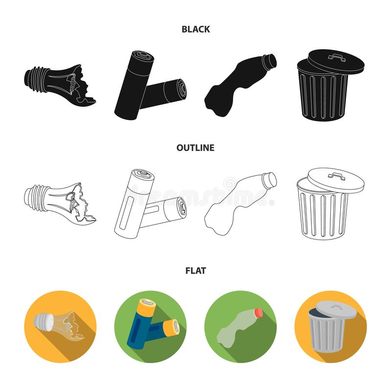 Broken light bulb, used batteries, breaking a plastic bottle, garbage can with a sign.Garbage and trash set collection. Icons in black,flat,outline style vector vector illustration