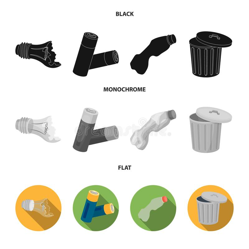 Broken light bulb, used batteries, breaking a plastic bottle, garbage can with a sign.Garbage and trash set collection. Icons in black, flat, monochrome style royalty free illustration