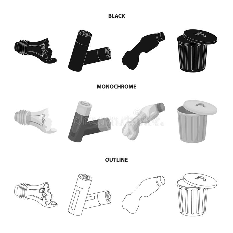 Broken light bulb, used batteries, breaking a plastic bottle, garbage can with a sign.Garbage and trash set collection. Icons in black,monochrome,outline style stock illustration