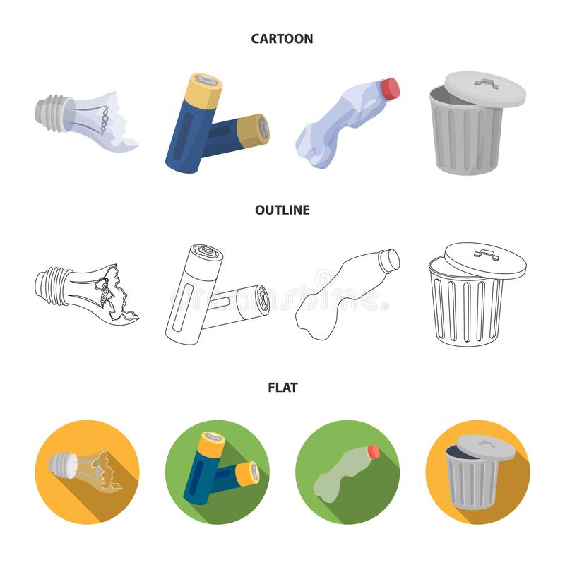 Broken light bulb, used batteries, breaking a plastic bottle, garbage can with a sign.Garbage and trash set collection. Icons in cartoon,outline,flat style stock illustration