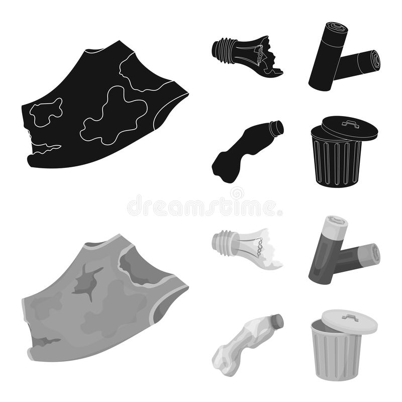 Broken light bulb, used batteries, breaking a plastic bottle, garbage can with a sign.Garbage and trash set collection. Icons in black,monochrom style vector stock illustration