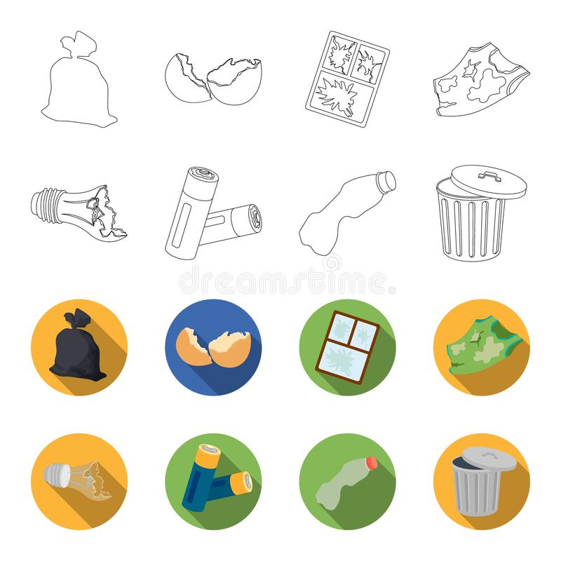 Broken light bulb, used batteries, breaking a plastic bottle, garbage can with a sign.Garbage and trash set collection. Icons in outline,flat style vector stock illustration