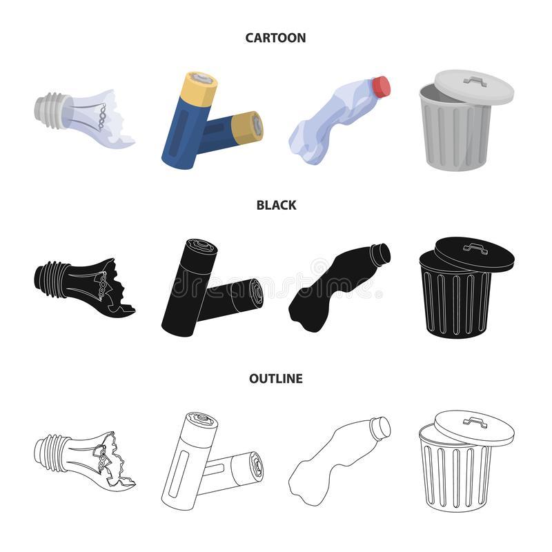 Broken light bulb, used batteries, breaking a plastic bottle, garbage can with a sign.Garbage and trash set collection. Icons in cartoon,black,outline style stock illustration