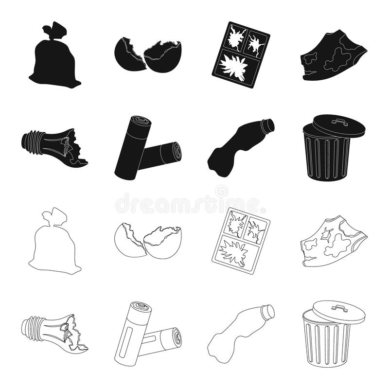Broken light bulb, used batteries, breaking a plastic bottle, garbage can with a sign.Garbage and trash set collection. Icons in black,outline style vector vector illustration
