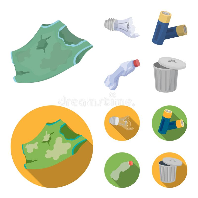 Broken light bulb, used batteries, breaking a plastic bottle, garbage can with a sign.Garbage and trash set collection. Icons in cartoon,flat style vector vector illustration