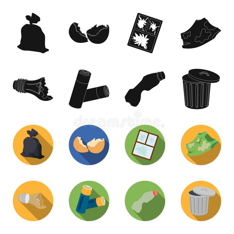 Broken light bulb, used batteries, breaking a plastic bottle, garbage can with a sign.Garbage and trash set collection. Icons in black,flet style vector symbol stock illustration