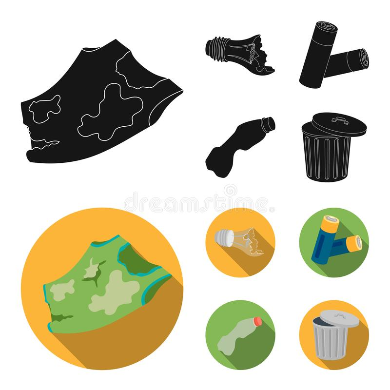 Broken light bulb, used batteries, breaking a plastic bottle, garbage can with a sign.Garbage and trash set collection. Icons in black, flat style vector symbol royalty free illustration