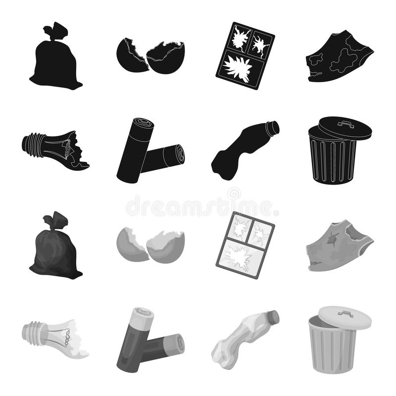 Broken light bulb, used batteries, breaking a plastic bottle, garbage can with a sign.Garbage and trash set collection. Icons in black,monochrome style vector vector illustration