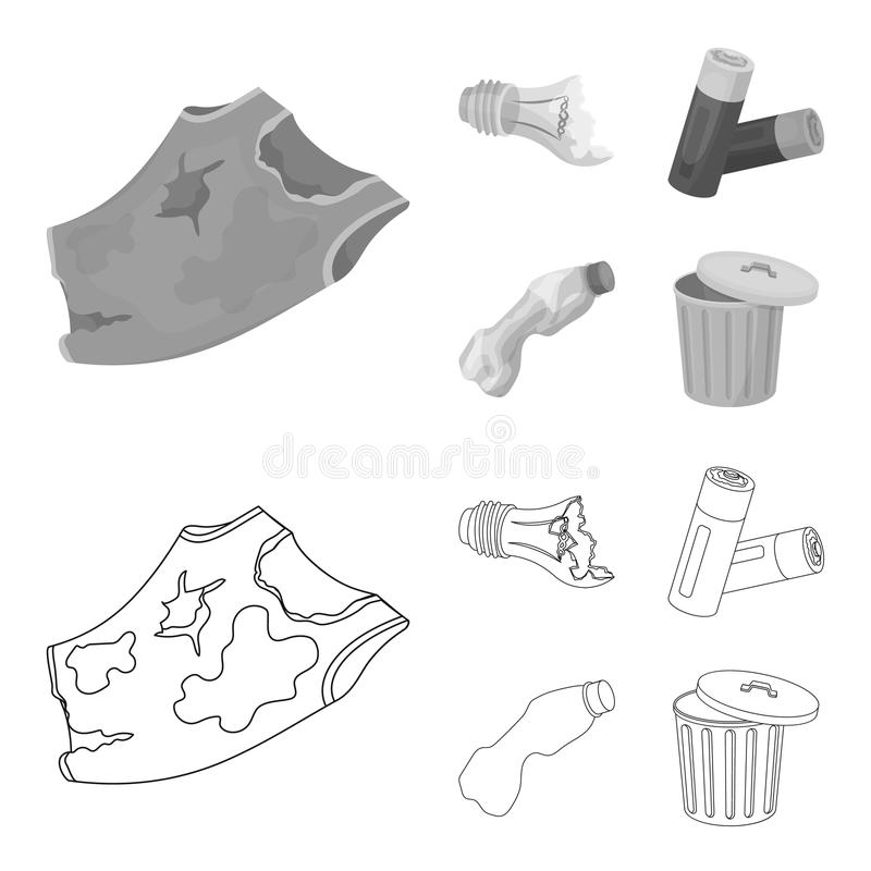 Broken light bulb, used batteries, breaking a plastic bottle, garbage can with a sign.Garbage and trash set collection. Icons in outline,monochrome style vector stock illustration